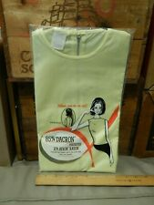 Canary Yellow Short Sleeve Shirt w/ Zipper Back Nos Dacron Polyester Avron Rayon