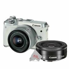 Canon EOS M6 Mirrorless Digital Camera White with 15-45mm + EF-M 22mm f2 Lens