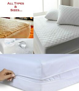Extra Deep Quilted / Fleece / Waterproof / Terry Mattress Protector Fitted Sheet