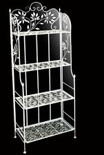 Entratina metallo bianco 165cm 4 ripiani salotto cucina bagno arredo shabby chic