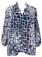 Grace ladies blouse top tunic plus size 24 navy white chiffon feel geometric