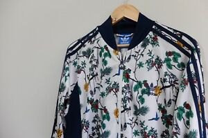 Adidas Originals Island Series Track AOP birds floral print jacket L White 2015