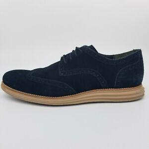 Cole Haan LunarGrand Men's 13 Oxford Wingtip Black Suede Shoes C10229
