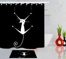 Black & White Cat Shadow Shower Curtain Set Polyester Waterproof Fabric Hooks