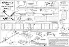 Aeropiccola SIMPLEX ALIANTE VOLO LIBERO piano modello con modelli di parti