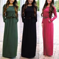 Women Fashion Casual Long Sleeve Belted Party Evening Cocktail Maxi Dress New
