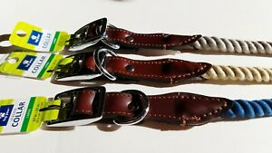 Top Paw Rope and Leather Dog Collar, Your Choice Size & Color