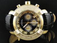 Mens Aqua Master Jojo Jojino Joe Rodeo Black Leather 45 mm Diamond Watch W#96