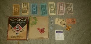 Vintage Monopoly Parker Brothers Board Game No Board Wood & Metal Pieces