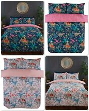 Rapport Jungle Expedition Indian Asian Elephant Duvet Cover Bed Set Navy Or Pink