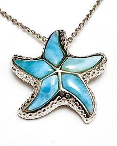 P0140 Cute Larimar Star Fish Style Sterling Silver Pendant