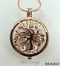 Family Tree Pearl Cage Necklace Rose Gold Plated Locket Charm Tree of Life