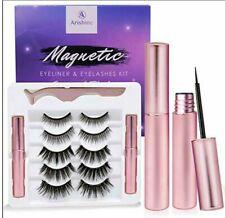 Arishine Magnetic Eyelashes And Eyeliner Kit Reusable 5 pair / 2 tubes Black