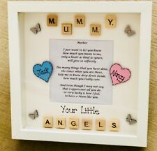 Personalised 3D Box Picture Frame Mum Mummy Easter/Xmas Gift Present Scrabble