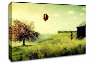 Hot Air Balloon Ride In The Countryside Landscape 06403 Canvas Print Wall Art