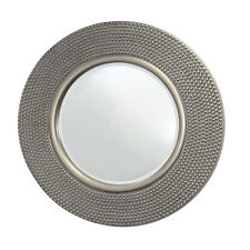 NEW X Large Round Champagne Silver Wall Mirror Circular Hammered Frame 80cm Dia