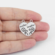 5 Pairs Tibetan Silver Tone Mother & Daughter Heart Charms Pendants Findings