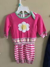 Hanna Andersson 60 3M 6M Knit Sweater Pants Set Pink Stripes Flowers Girl Green