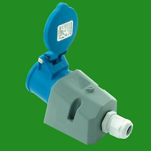 Outdoor 16A 240V 3 Pin Industrial Caravan Socket Single IP44 With Cable Gland