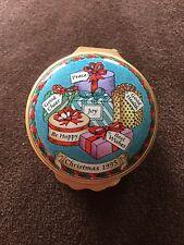 Halcyon Days Enamels 1995 Presents Christmas Trinket Box Hinged Beautiful!