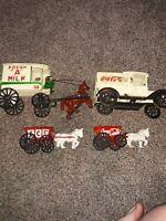 VINTAGE COCA  COLA SODA RED IRON HORSE DRAWN VENDOR WAGON COKE AD Collection Lot