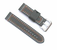 24mm Thick Leather Black Watch Band with Orange & White Stitching