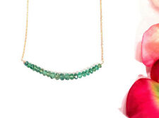 """emerald necklace solid 18k yellow gold  natural wire wrap 16"""""""