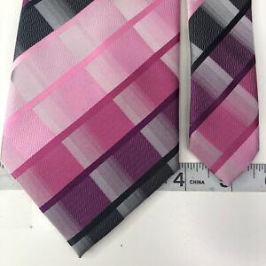 Stacy Adams Purple Pink Geometric Silk Necktie Handmade