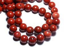 Fil 39cm 90pc env - Perles de Pierre - Jaspe Rouge Boules 4mm