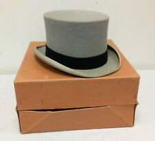 Vintage Moss Bros Grey Top Hat with Original Box - Covent Garden - Size: 7 1/4