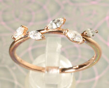 Romantic 14K Rose Gold & 1/3 CTW Genuine Diamond Leaf Ring Stackable Band Sz 7