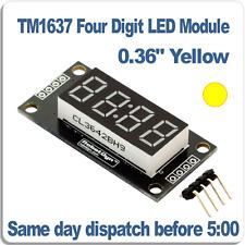 "4 Digit Yellow 7 segment LED display module 0.36"" Clock TM1637 Arduino RobotDyn"