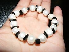 Pearl & BLACK OSSIDIANA Gemstone Crystal Bead braccialetto una pendenza% 10mm & 6mm perline