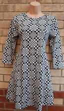 NEW LOOK SILKY FEEL WHITE BLACK DOG TOOTH CHECK SKATER SMOCK BAGGY DRESS 8 S