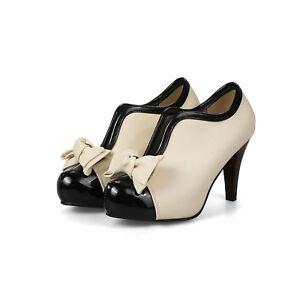 Lady's Faux Leather Plus Size Shoes High Heel Beige Bow Black Toe Platform Pumps