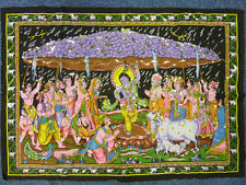 Indian Krishna Holding Govardhan Mountain Sequinned Wall Hanging 80 x 110 cm