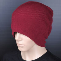 C001 LONG WINTER Thick Beanie Hat Cap / Wine Red