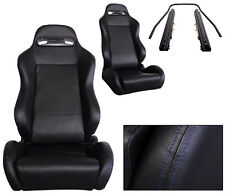 2 BLACK LEATHER + BLUE STITCHING RACING SEATS FOR ALL ACURA DRIVER & PASSENGER