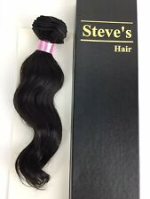 "Steve Chi Remy 100% Virgin Human Hair Wave 12"" Weft India Extension Brn Blk"
