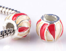 2pcs Painted double stripe big hole Beads Fit European Charm Bracelet DIY #D812