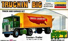 Lindberg VINTAGE HO Scale Truckin' Big Ford W9000 Tractor Trailer & Garage Kit