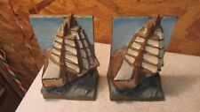 Antique Painted Cast Iron Sailing Ship Bookends