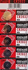 Maxell 5 x  Genuine CR2032 3v Lithium Button/Coin Cells Batteries Free Postage.