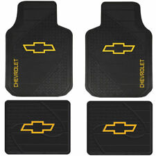 4 Front & Rear CHEVY BOWTIE LOGO Floor Mats Rubber Weather Factory Liners Black