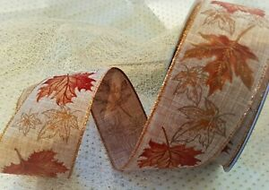 AUTUMN FALLEN LEAVES Linen style Natural & Copper - Luxury Wire Edged Ribbon