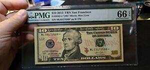 Fr.2042-L* $ 10 2013 San Francisco STAR FRN PMG GEM 66 EPQ 1 of 3 Consecutive