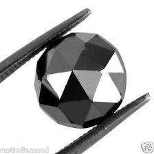 2.04 ct NATURAL LOOSE DIAMOND JET BLACK OPAQUE ROUND ROSE CUT DIAMOND JEWEL USE