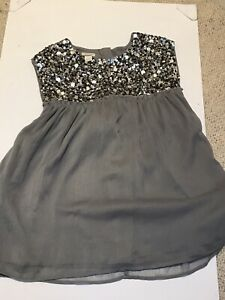 Monsoon Girls Silver Party Top With Shimmer Sequins - Sz 9 - 10 Years