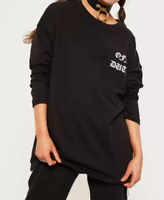Missguided black off duty slogan sweatshirt- UK 10