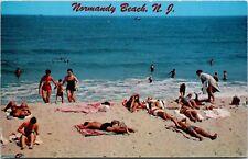 Postcard NJ Normandy Beach Sunbathers Relaxing in the Sun Beach Scene 1961 M33